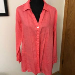 Peach color linen blouse